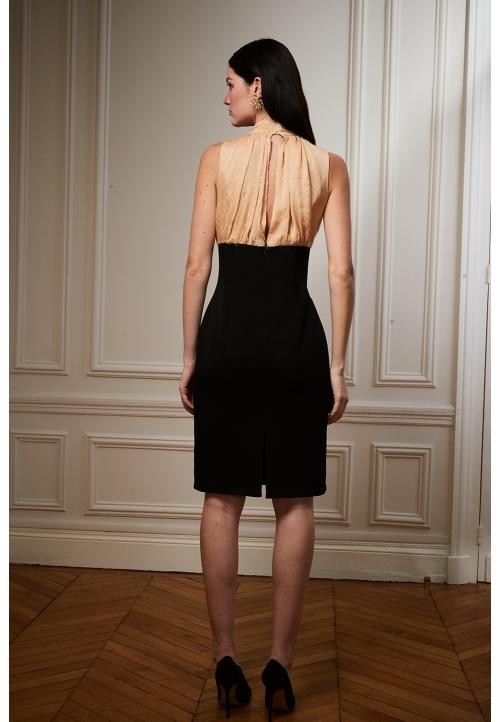 Le 925 Jade Robe droite sans manche effet taille empire haut noir et or