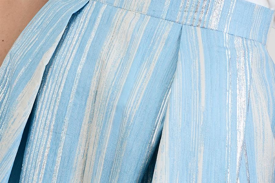 Le 412 EMMA Jupe droite à empiècement et plis couchés/à plis couchés rayé bleu/argent