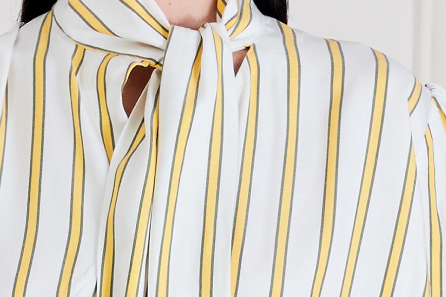 Le 608 Léa Blouse à col noué raye jaune et gris
