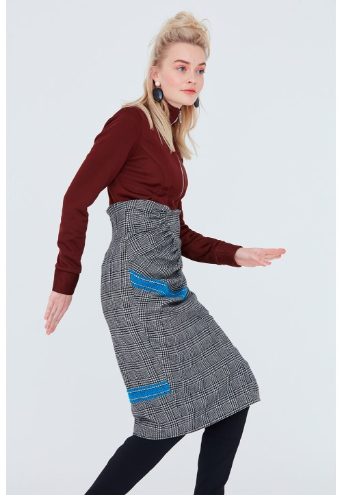 Le 415 High-waisted skirt with gathers and seam detailing