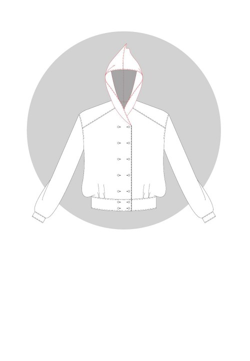 Overlapping hood for double-breasted garments