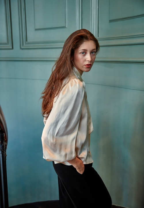Le 608 Léa Tie-neck blouse satin