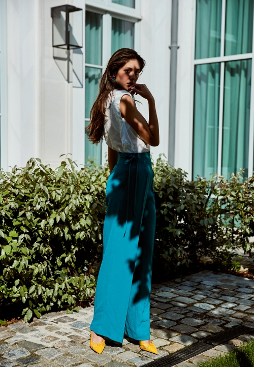 Le 308 Théo - Pantalon taille haute Bleu/vert