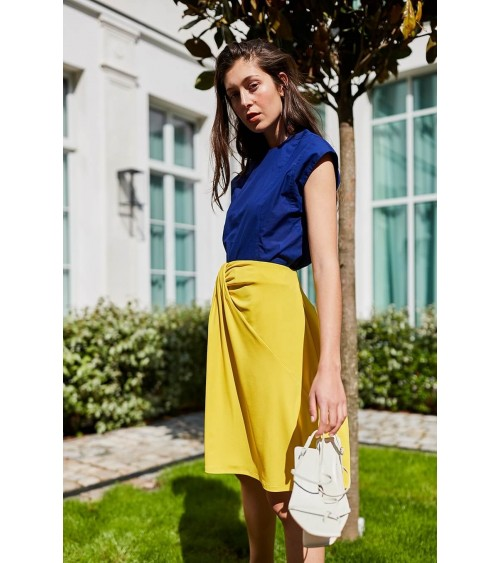 Le 417 Aude Flared and drapery skirt yellow