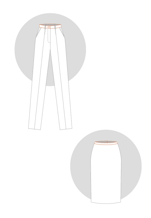Straight and shaped waistbands
