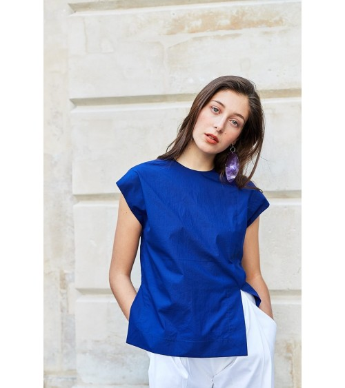 Le 514 Top with asymetric seam detailing indigo
