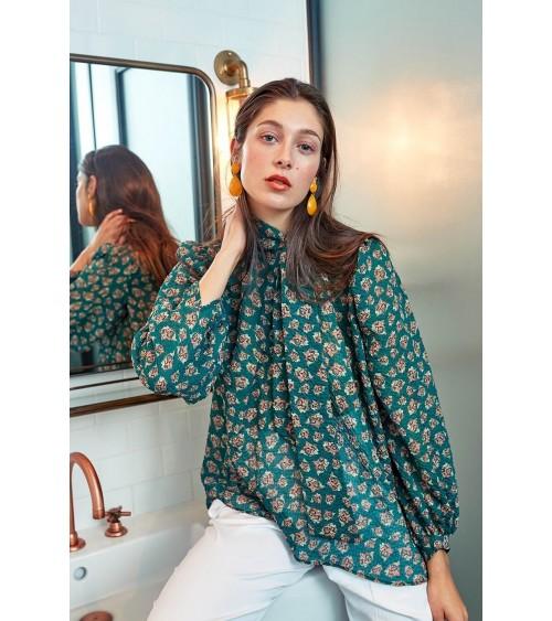 Le 608 Léa Blouse à col noué soie motifs verts