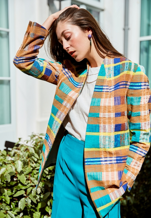 Le 801 Louise Edge to edge jacket tartan
