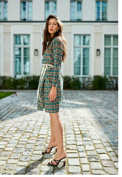 Le 912 Eve Robe effet portefeuille à manches longues vert