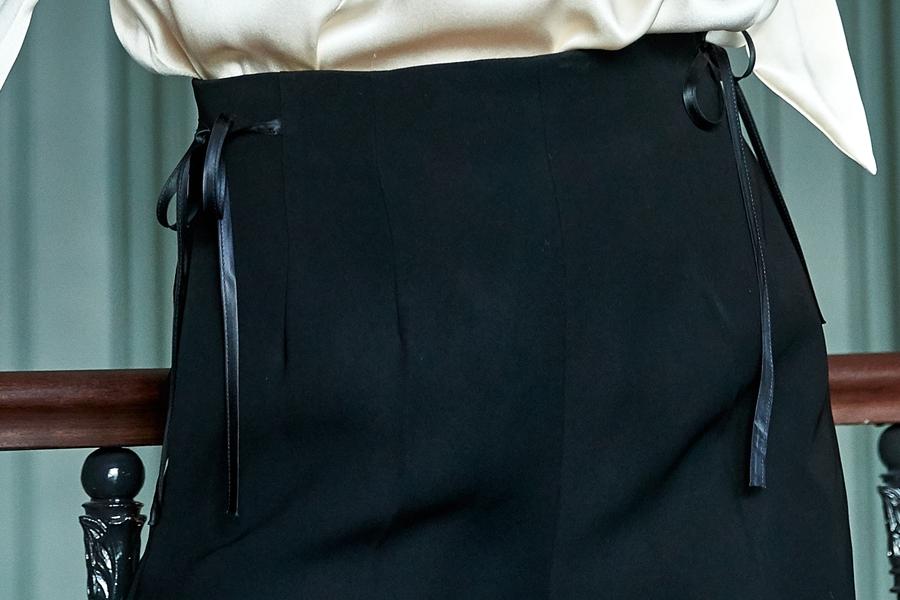 Le 308 Théo  - Pantalon droit taille haute black