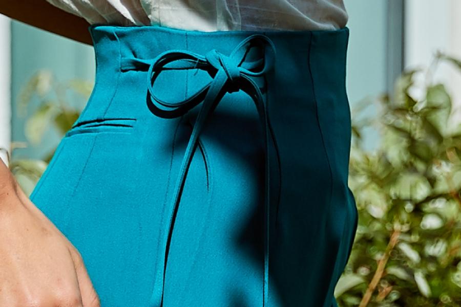 Le 308 Théo - Pantalon droit taille haute blue/green