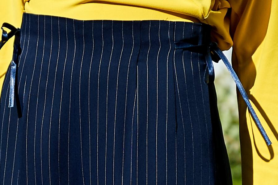 Le 308 Théo - Pantalon droit taille haute white stripes