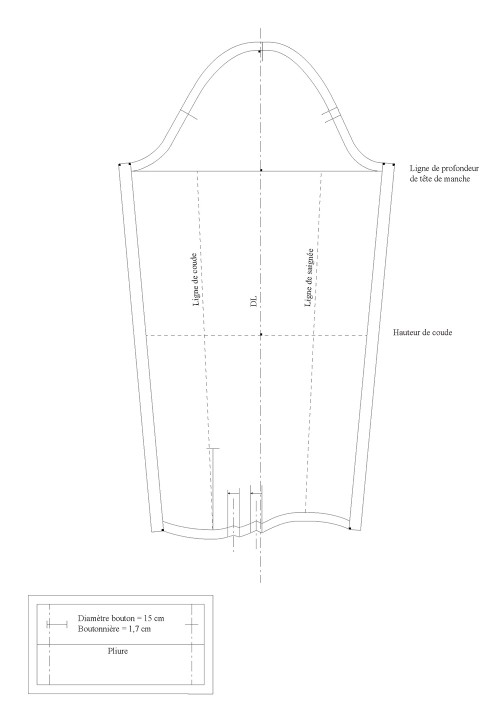 Seam allowance value for the blouse sleeve (luxury)