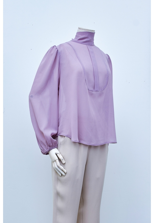 Le 5003 Tied collar and dickey blouse