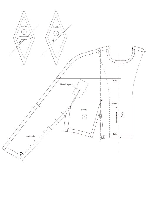 Seam allowance value for the kimono sleeve with inset gusset (luxury)