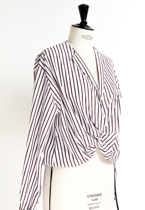 Le_5001 Tie-neck blouse, with or without sleeves