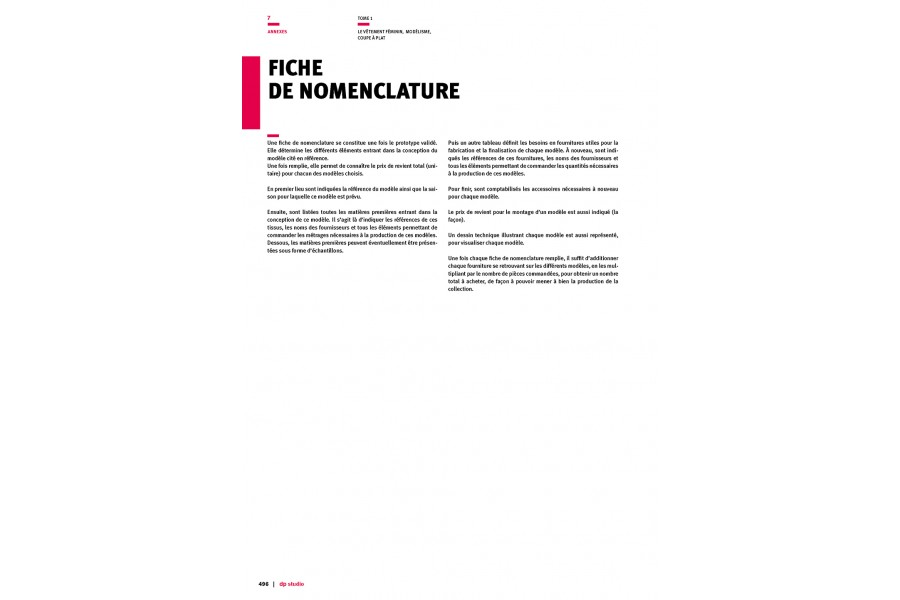 Nomenclature sheet