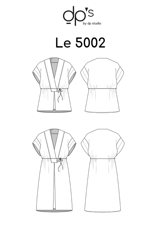 Le_5002 Tunic/dress with low-set sleeves and plunging neckline
