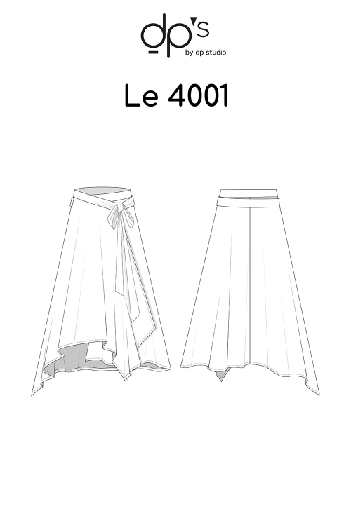 Le_4001 Asymmetric and belted flared wrap skirt