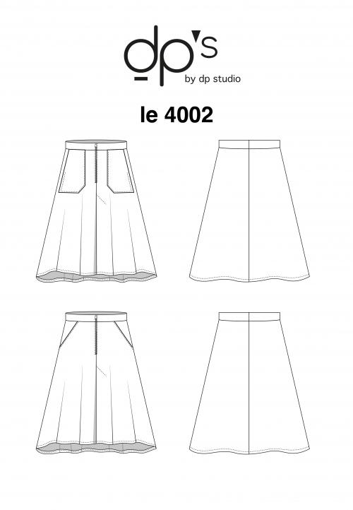 LE_4002 Jupe évasée style denim