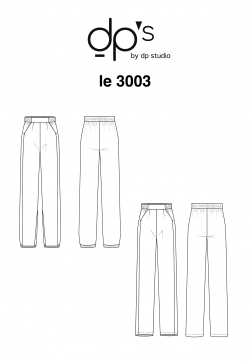 LE 3003 Loose trousers with elastic waistband and slant pockets.