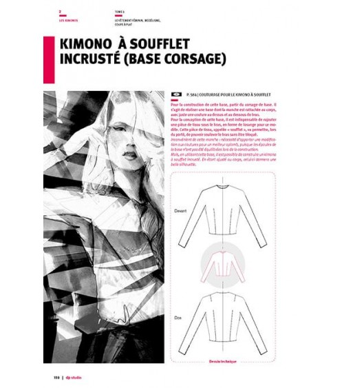 Kimono à soufflet incrusté (base  corsage)