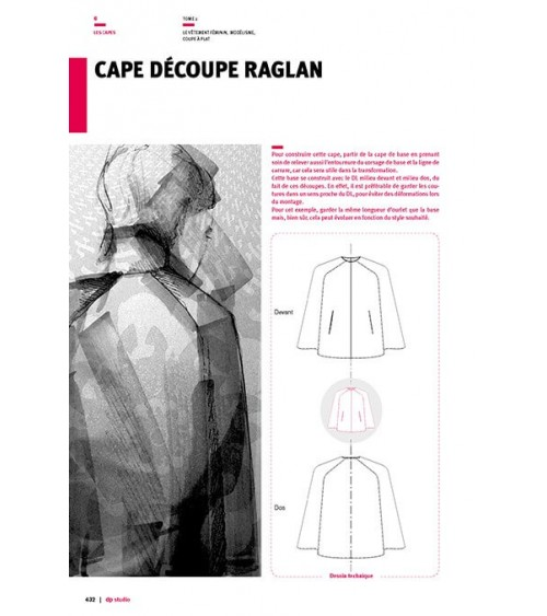 Cape with raglan seams