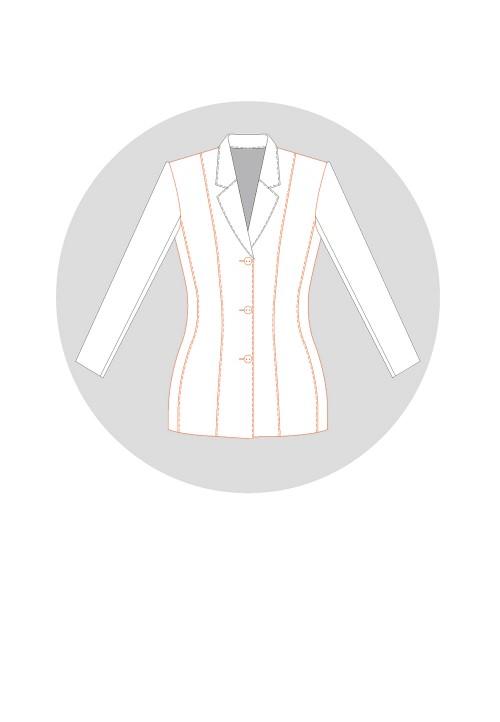 Veste tailleur à découpes bretelles et petit côté (5 morceaux)