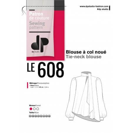 Le 608 Léa Blouse à col noué soie beige poils