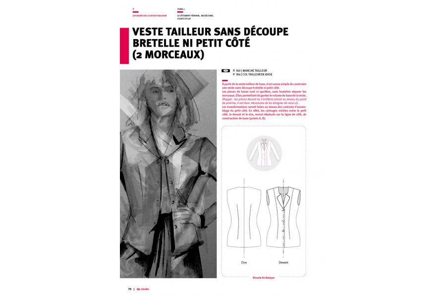 Tailored jacket with no shoulder strap seam or side piece (2 pieces)