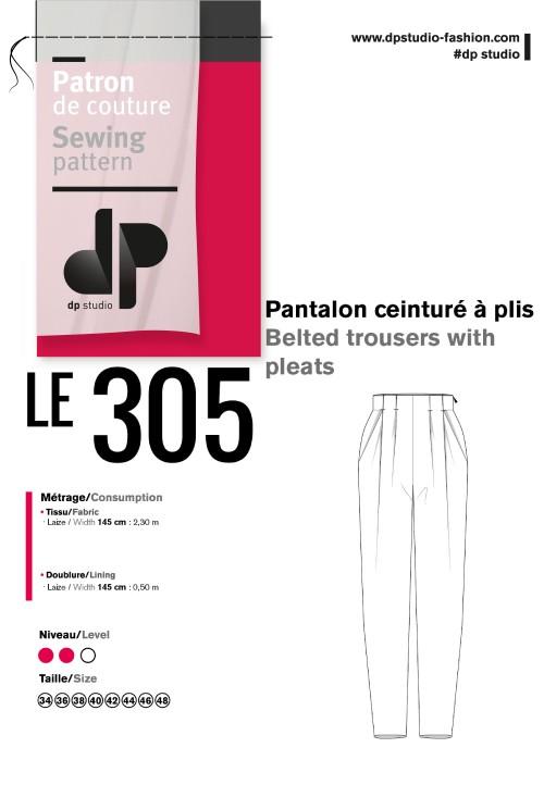 Le 305 Pantalon ceinturé à plis