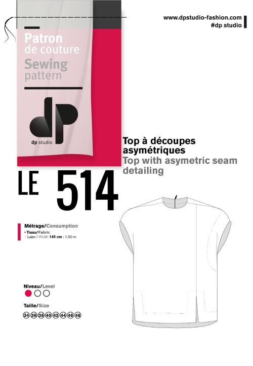 LE 514 Top à découpes asymétriques imprimé japonais