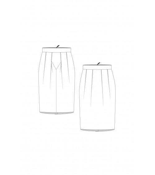 Le 412 Jupe droite à empiècement et plis couchés/à plis couchés brocard
