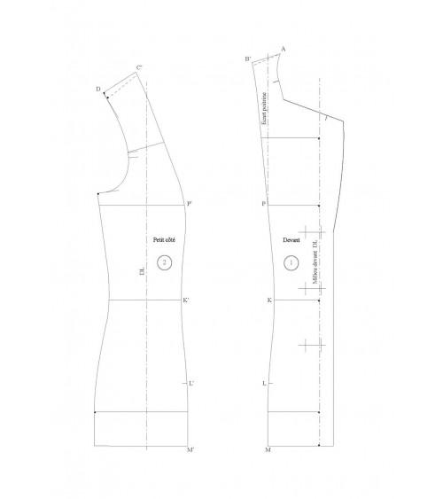 Veste tailleur à découpes bretelles sans petit côté (4 morceaux)