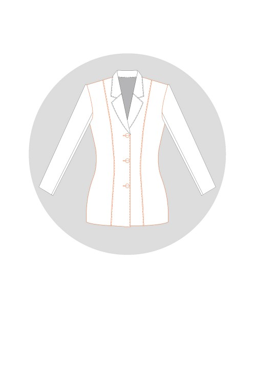 Tailored jacket with shoulder strap seams but no side piece (4 pieces)
