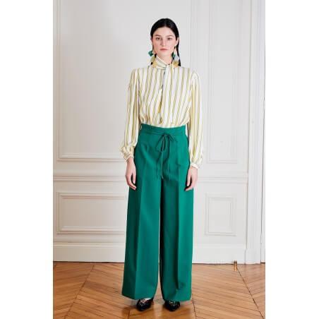 Le 308 Théo - Pantalon droit taille haute chocolat