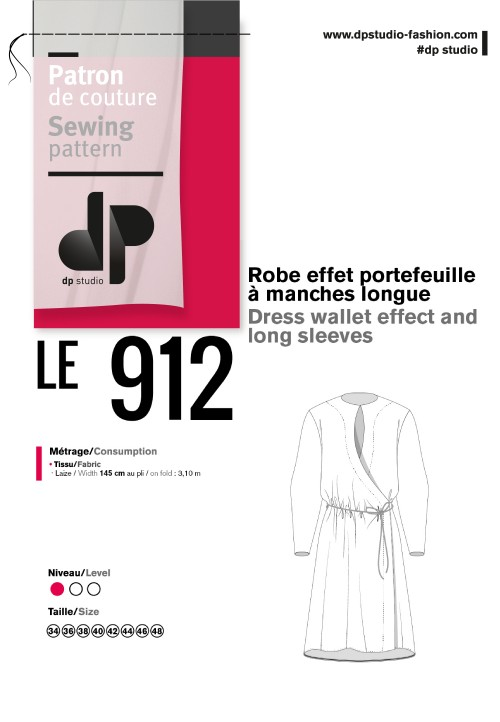 Le 912  Eve Dress wallet effect and long sleeves