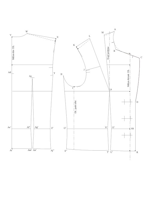 Shortened tailored jacket with a back seam (1.5 pieces)