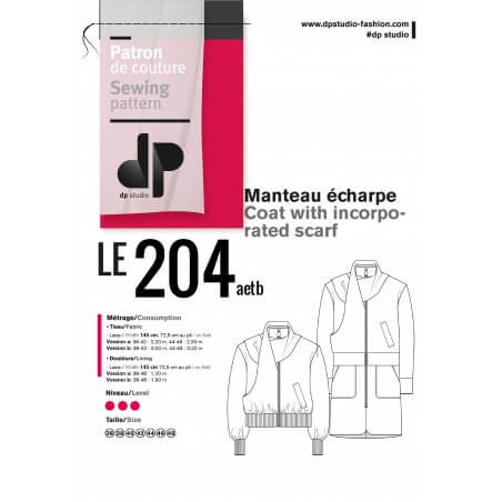 le 204a and b - Coat with incorporated scarf