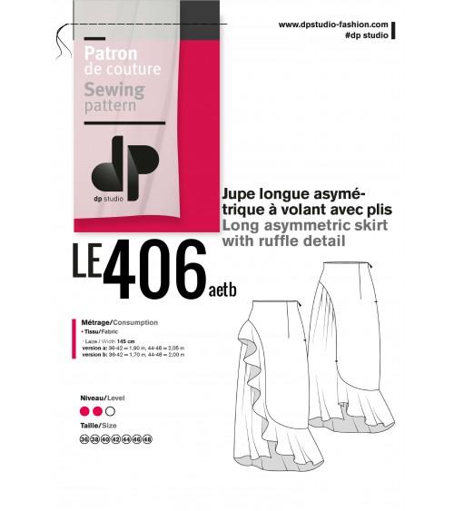 le 406a et b - Jupe longue asymétrique à volant avec plis
