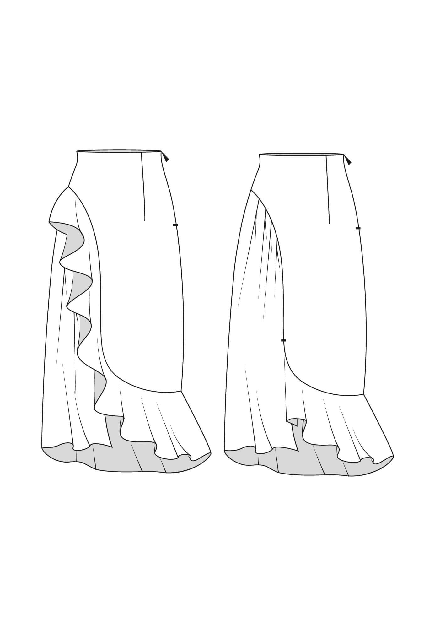 Long Asymmetric Skirt With Ruffle Detail