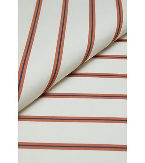 Tissu écru/rayé marron