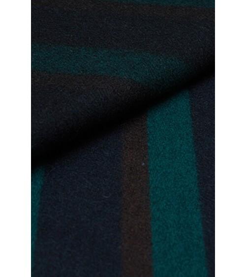 Striped woollen fabric navy blue/brown/bottle green