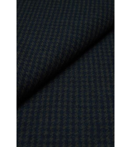 Houndstooth woollen fabric green/navy blue