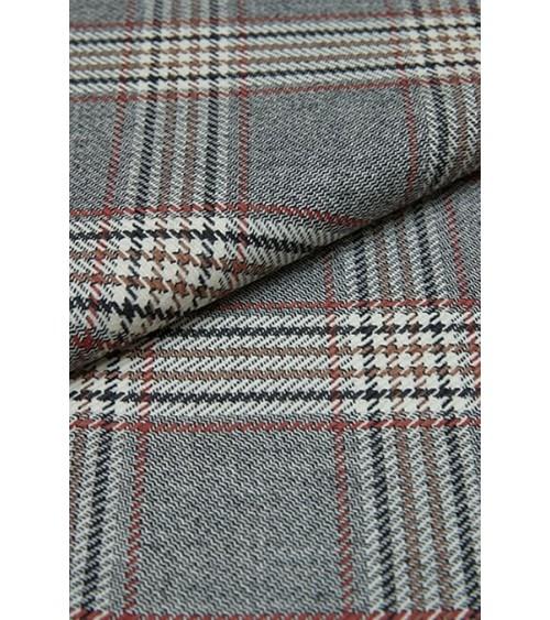Tartan woollen fabric black/off white and brown