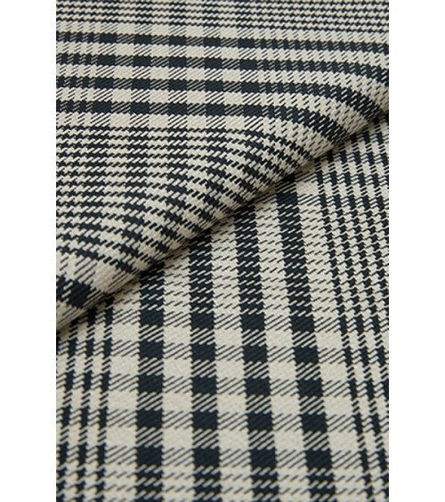 Tartan fabric with houndstooth beige and black