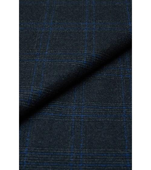 Tartan woollen fabric anthracite grey and blue