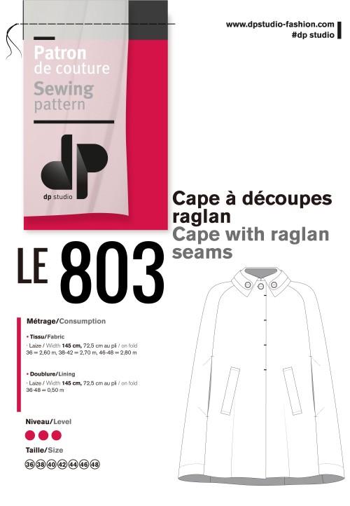 Le 803 Cape with raglan seams