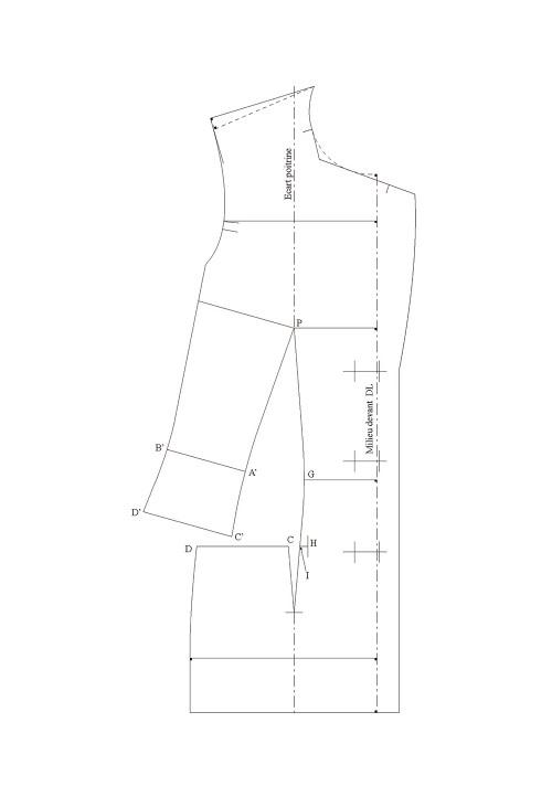 Shoulder dart transfer into a pocket seam (tailored jacket base)