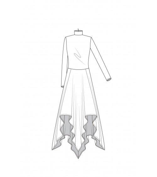 Le 933 Robe coupée taille, jupe effet carré de mouchoir